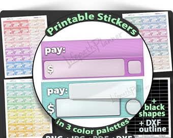 Bill stickers Bill due stickers Printable Planner Stickers bill to use in Erin Condren Planner Stickers bill due printable bill due planner