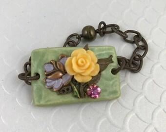 Assemblage Bracelet, Repurposed Bracelet, One of a Kind Bracelet