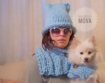 Merino matching scarves with your dog & kitty hat beanie