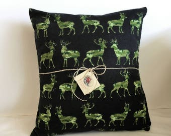 Deer Pillow, Buck Pillow Cover, Black and Green, Camp Decor, Lodge Style