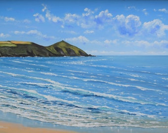 Summer at Rame Head- Cornish Seascape - Framed Original Acrylic Painting
