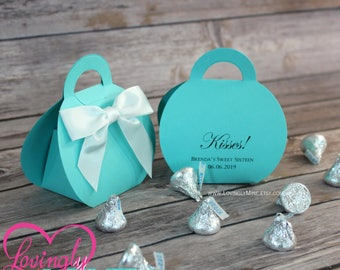 Purse Shaped Favor Bags in Light Teal with White Satin Bow | Custom Printed  |  Aqua | Robins Egg Blue | Designer Inspired | For Any Event