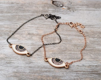 Evil eye Bracelet Black Chain Bracelet Dainty mothers day Sterling Silver Black Gold Plated Black Evil Eye Bracelet Birthday gift