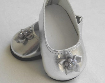 Doll shoes Fit AMERICAN GIRL DOLLS, Silver Shoes with Flower Decoration