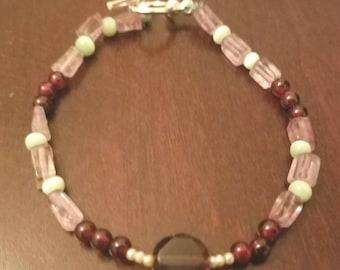 Garnet Pearl Amethyst Bracelet