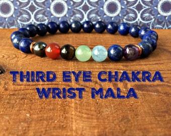 Third Eye Chakra Mala, Ajna Brow Chakra Bracelet, 6th Chakra, Healing Crystals, Lapis Lazuli, Spirituality-Link to the Divine-Intuition