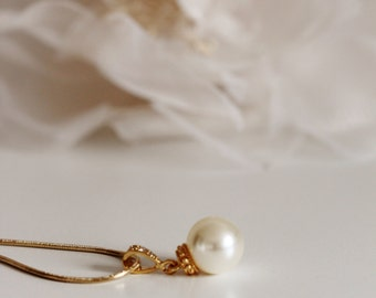 Gold Wedding Necklace Bridesmaid Necklace Gold Simple Bridesmaid Gift Necklace Ivory Pearl Necklace Bridesmaid Jewelry