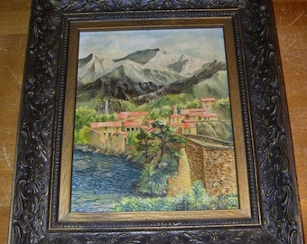 "Vintage Oil Painting On Board Signed V.T. Cataldo Frame is 12x14"" Town Mountains"