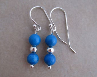 turquoise howlite earrings sterling silver