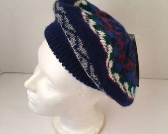 NWT Aris Knits Thermal Puff Tam Navy Blue Green Red vintage Pattern beret