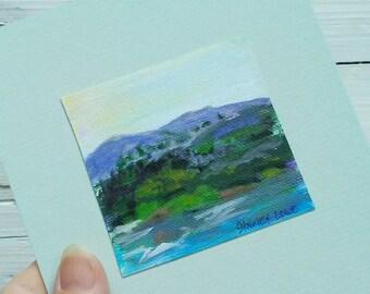 Mountain mini art, mountain scene mini, original art gift, mountain art gift, nature lover art, hiker mini art, fits in 5x7, mountain lover