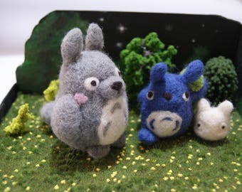 Totoro needlefelted diorama