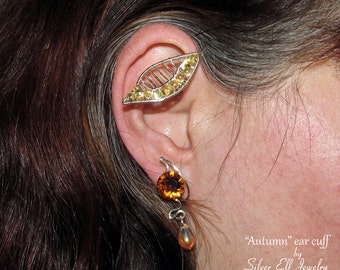 Leaf ear wrap, Leaf and Honey no piercing earring, nature jewelry, Fantasy jewelry, wire ear cuff with leaf, leaf jewelry, nature lover gift