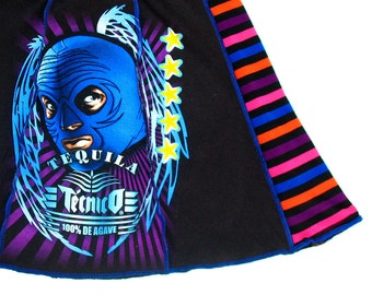 Blue Tequila - Upcycled Tee Skirt Womens Med skirt - Luchador Mask Agave black blue purple stripes upcycled clothing Lucha Libre skirt party