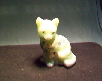 Fenton Mint Green Hand Painted Signed Cat Figurine