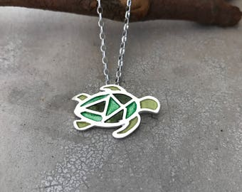 Green Sea turtle pendant - turtle silver and vitreous enamel necklace - gift for animal lovers