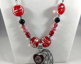 Vintage Style Red Heart Necklace