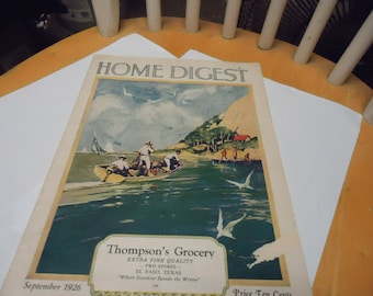 Vintage 1926 Home Digest, collectable, paper, Thompson's Grocery, Ten cents September, El Paso Texas