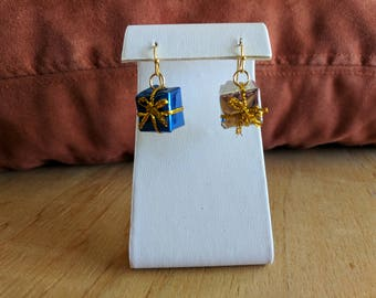 Silver and blue Christmas presents dangle earrings