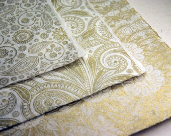 Handmade Wrapping Paper Holiday Gift wrap 3 mixed sheets natural with gold print