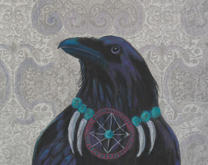 Raven Warrior dream catcher card