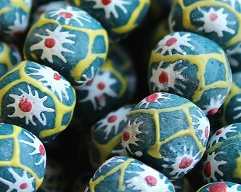 African Sandcast Beads from Ghana, Green with Yellow, White, & Red Designs - ASC-060