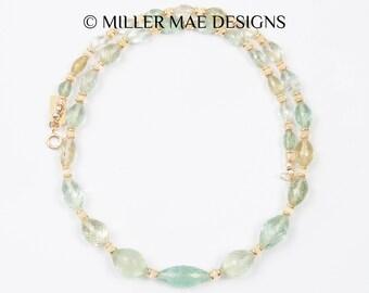 Moss Aquamarine Necklace | Ethiopian Opal Necklace | Gemstone Statement Necklace | Aquamarine Statement Necklace | Opal Statement Necklace