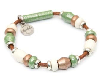 Deluxe Grasshopper Green, Copper Shimmer, and Cream Bead Leather Magnetic Landella Bracelet