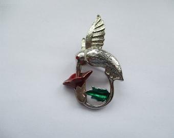 Vintage Silver Tone Enamelled Hummingbird Brooch with Red Rhinestone, Enamelled Brooch, Enamelled Hummingbird Pin, Hummingbird