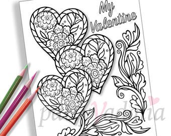 Hearts. Valentine. Coloring. Coloring Page. Adult Coloring Pages. Coloring Pages for Kids and Adults. Printables. Instant Download.