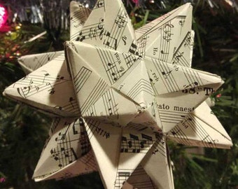 Sheet Music Christmas Ornament Modular Origami Star, Vintage Hymn Christian Religious Paper Star, Vintage Sheet Music Origami Paper Star