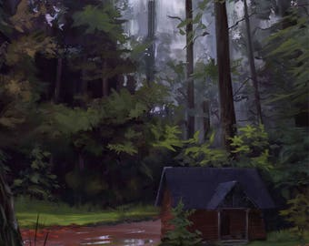 Cabin in the Woods painting
