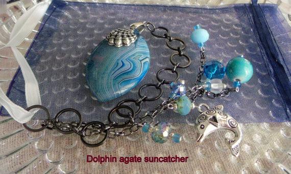 Dolphin sun catcher - aqua beaded window ornament - beach house - summer home - cottage decor - shell charm - chain gem - Lizporiginals