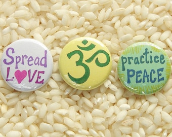 Peace, Love, Om - Buttons, Set of 3