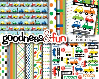 Buy 2, Get 1 FREE - Traffic Jam Digital Papers - Digital Transportation Paper Pack - Instant Download