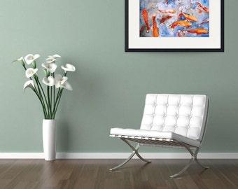 Fish Art prints | koi art | coral orange blue | Watercolor Painting  | orange gray blue | Large Art Print | koi painting watercolor painting