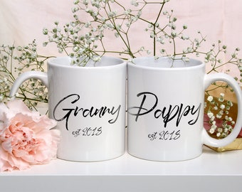 Set Of Two Granny & Pappy Mugs - New Grandad and Grandma Mugs - Nanna Coffee Mug - Grandad Mug - New Grandad Nanna Gift