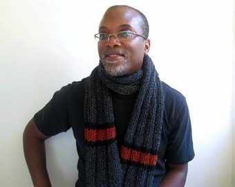 Men's Grey Scarf. Chunky. Handknit.  Ribbed in Charcoal Gray, Rust, and Black. Fall Accessories.