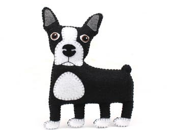 Boston Terrier Hand Sewing Pattern, Felt Dog Pattern, Stuffed Animal DIY, Instant Download