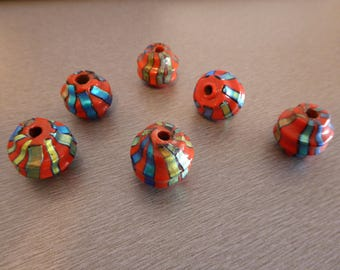 2 glass bicone beads 21mm red and blue beads