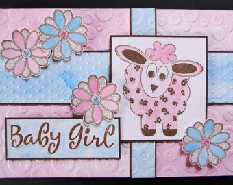Handmade Baby Girl Card - Pink Lamb, embossed button and dot background in pastel pink & blue, pink and blue daisies.
