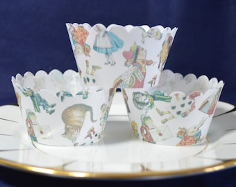 Edible Cupcake Wrappers Alice in Wonderland Chintz 12 Wafer Rice Paper Wedding Tea Party Decoration Patterned Fairy Cake Cupcake Favours