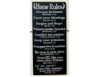 Home Rules with Scripture references wood sign