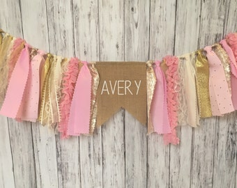 Pink and Gold Banner With Name // Banner With Name // Pink and Gold Banner // Shabby Chic Banner