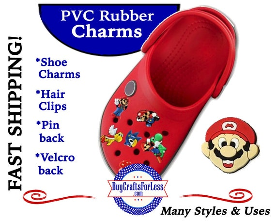 PVC Charms, Super MARIO * 20% OFF Any 4 PvC Charms * 1.99 Shipping *For Shoes, Hair, Pins-Choose back-Button, Pin, Slider, Hair Clip, Velcro