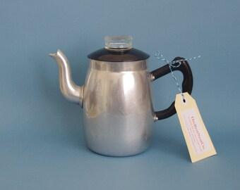 Mid century Aluminium tea pot silver black lid with glass knob