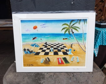 High-Quality 30cm x 40cm Size Giclee Print of Surrealism Chess Art