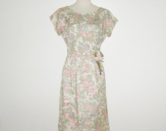 Vintage 1950s Floral Lace Dress / 50s Lace Floral Sequin Dress With Decorative Pinned Rose - Size M