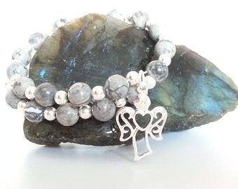 Scenery Jasper Bracelet, Silver Plated Memory Wire Bracelet with Scenery Jasper beads & a choice of Angel Charm, Heart or Butterfly Charm