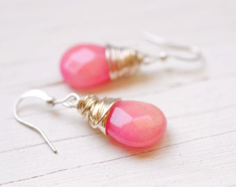 Simple Pink Wire Wrapped Earrings, Boho Chic, Opaque Milk Pink Teardrops, Bohemian Festival Jewelry, Simple Dangles, Lotus and Bliss
